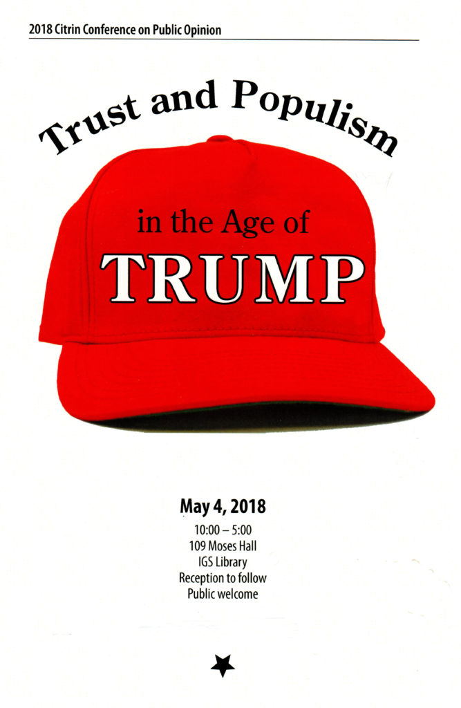 "2018 Citrin Conference Graphic - Red Hat with ""in the Age of Trump"" written on it"