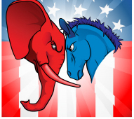 Winners and Loser Event graphic - red elephant butting heads with blue donkey