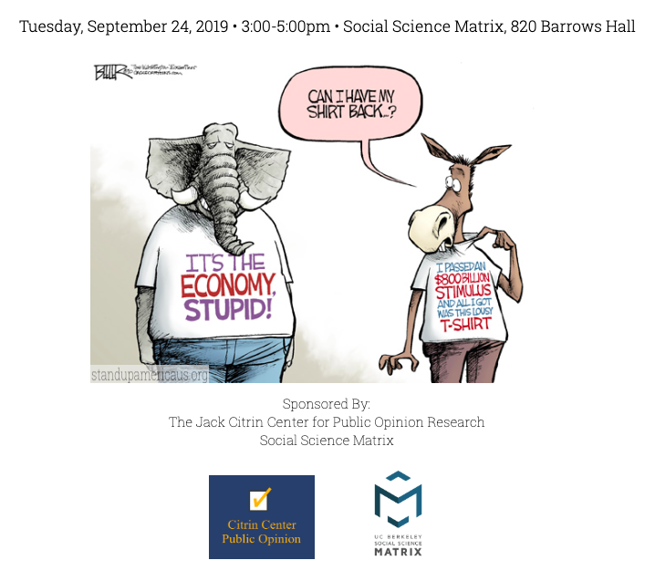 election graphic about economy affecting election with elephant and donkey representing Republicans and Democrats